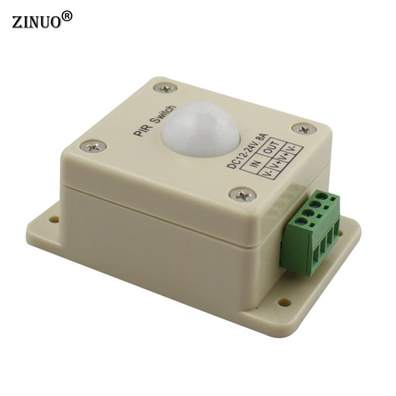ZINUO DC12V-24V 8A LED Light Infrared PIR Motion Sensor detector Switch Automatic For LED Strip Light Lamps lighting light 1x led night light lamps motion sensor nightlight pir intelligent led human body motion induction lamp energy saving lighting