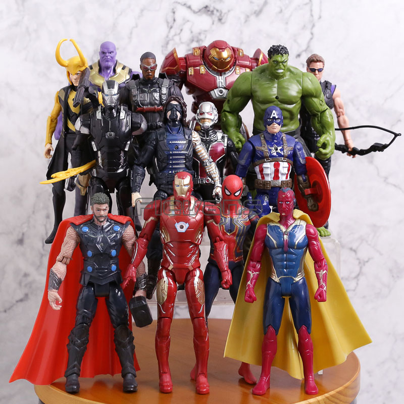 Avengers Infinity War PVC figurines 14 pièces/ensemble Thanos Iron Man Captain America Thor Hulkbuster Spiderman enfants garçons jouets