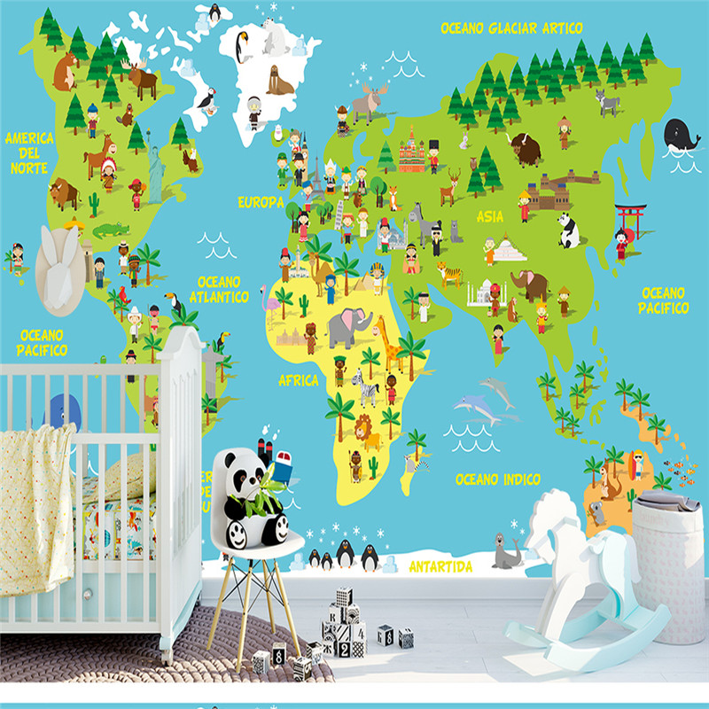 3D Photo Custom Wallpapers World Map Forest Wall Papers Murals for Living Room Background Walls Home Decor Nature Landscape Wood custom photo size wallpapers 3d murals for living room tv home decor walls papers nature landscape painting non woven wallpapers