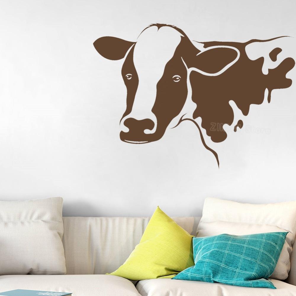 Kids Room Wall Decals Farm Wall Decals Farm Animal Decals: Farm Animal Cow Head Decal Agriculture Vinyl Wall Stickers