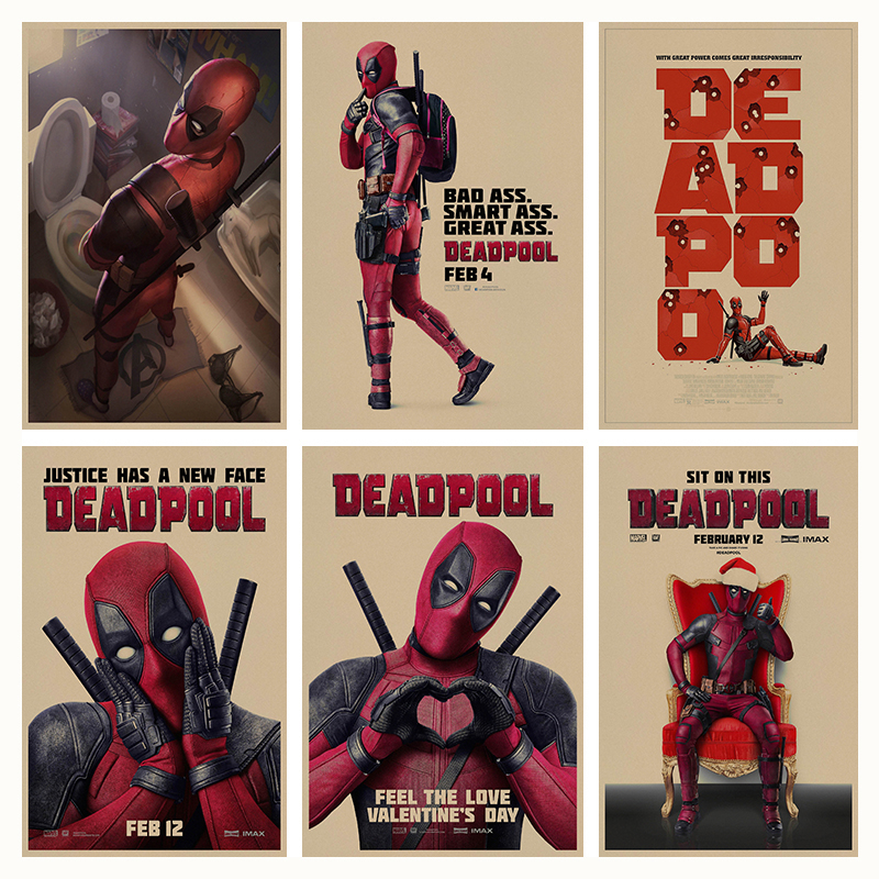Deadpool retro Cartel Retro de Papel Kraft Café Bar Pintura Decoración Del Hogar