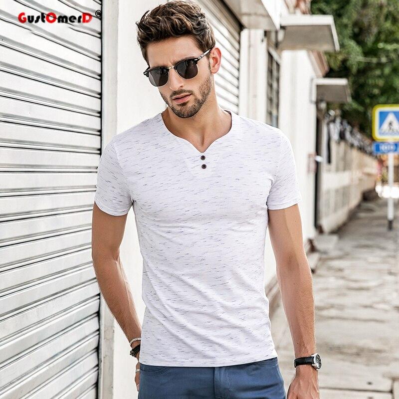 GustOmerD 2018 Men's   t     shirt   men Brand   T     Shirt   V-neck   T     Shirts   Summer Casual Solid Color Short Sleeve Slim Fit Cotton tee   shirt