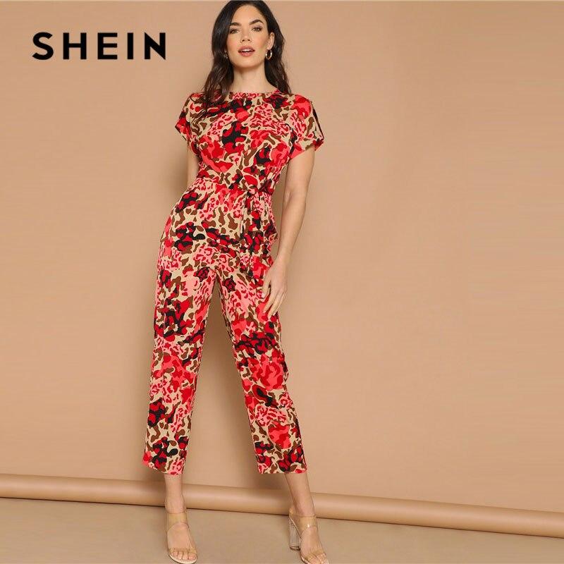 SHEIN Lady Highstreet retroussé manches noeud avant imprimé léopard combinaison femmes été taille haute décontractée combinaison conique