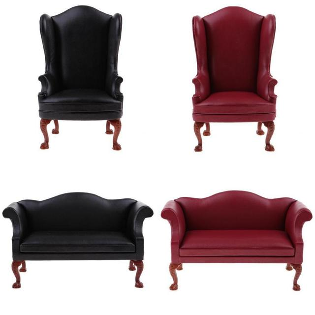 1 6 Scale Dollhouse Miniature Faux Leather Single Sofa Armchair Couch Furniture For 12