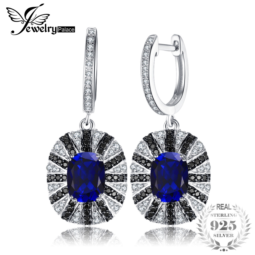 JewelryPalace di Lusso 7.1ct Creato Blu Zaffiro Nero Spinello Ciondola L'orecchino Solido 925 Gioielli In Argento Sterling per Le Donne