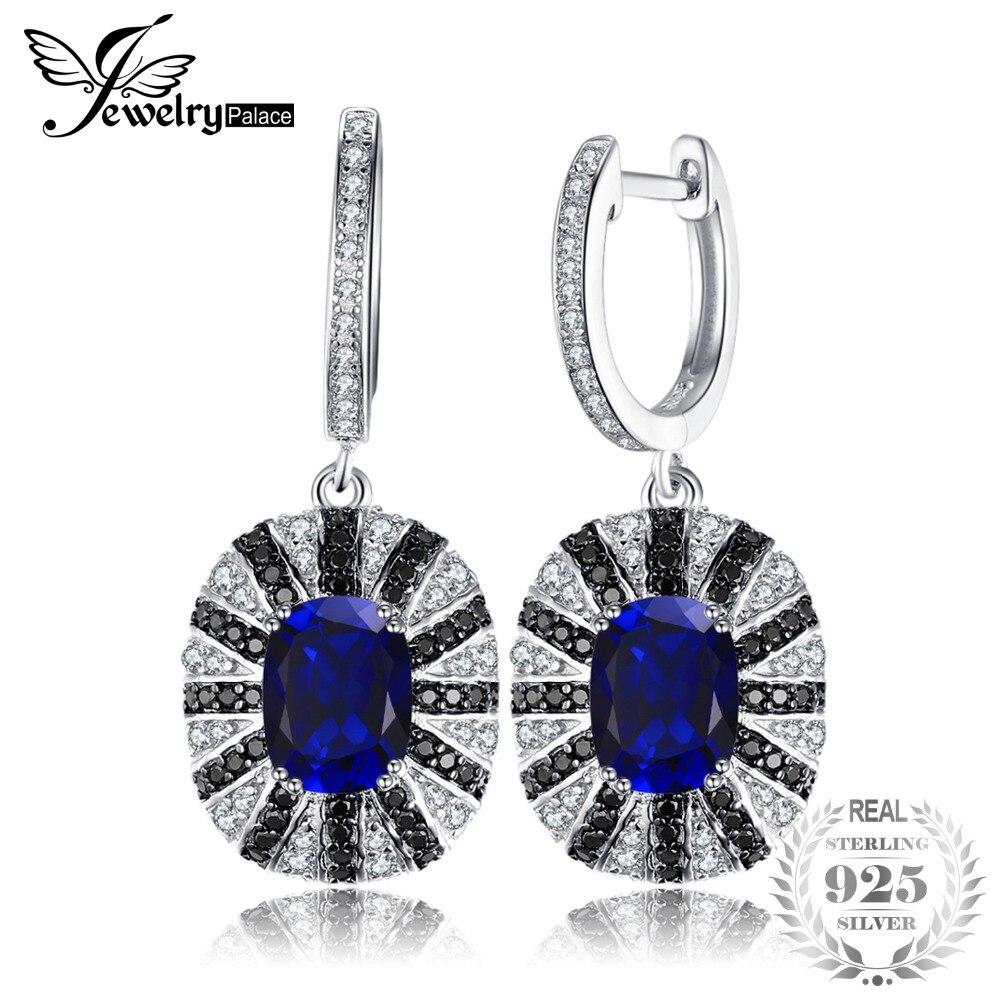 Jewelrypalace Роскошные 7.1ct создан синий сапфир черной шпинели мотаться Твердые 925 Серебряные ювелирные изделия для Для женщин