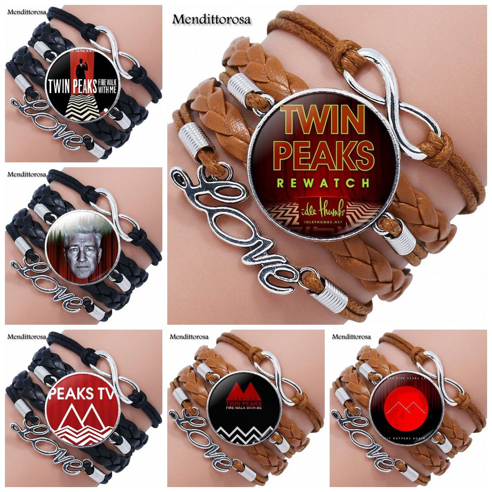 Mendittorosa Twin Peaks Jewelry With Glass Cabochon Multilayer Black/Brown Leather Bracelet Bangle For Women Wedding Gift