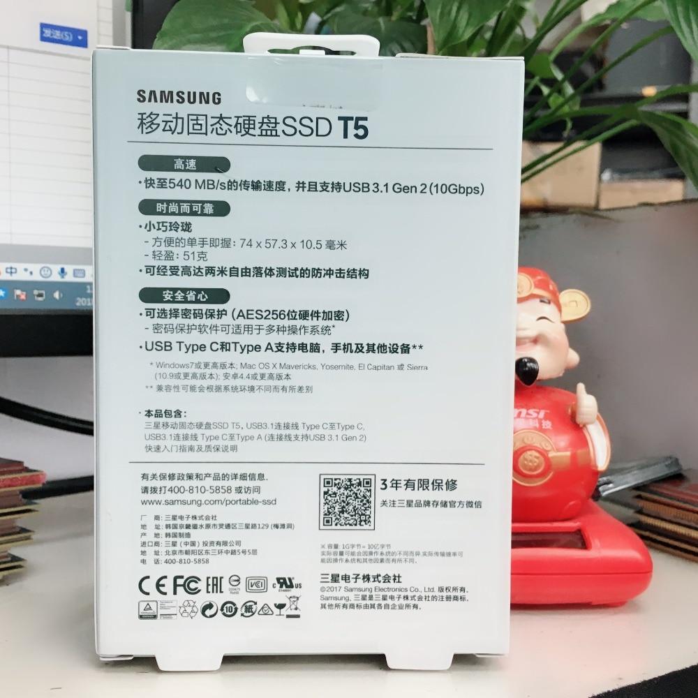 Samsung PC portátil SSD T5 250GB 500GB 250G 500G externo unidades de estado sólido SSD USB 3,1 - 2