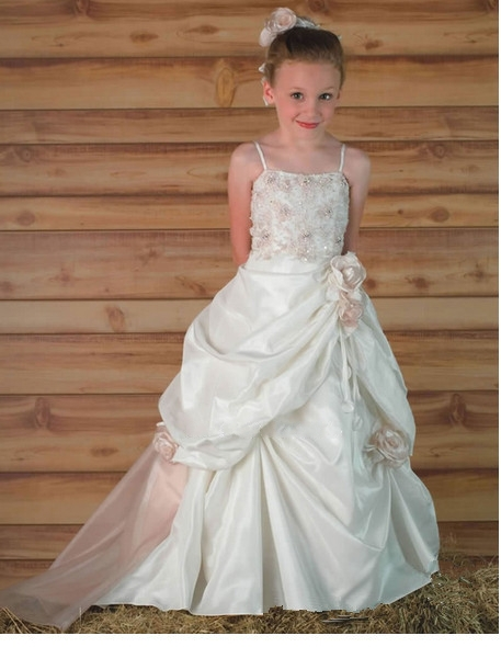 2014 New hot arrival fashion first communion   dresses   appliques beaded satin sweep train   flower     girl     dresses   vestido de daminha