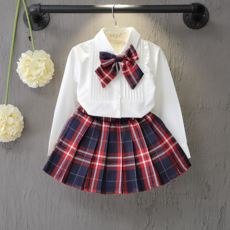 School Style Spring Autumn Fashion Girls Dress Set White Shirt Top With Plaid Knot Tie+Plaid Skirt 3 Pcs Suit Girls Clothing girls cute knitted sweater with skirt kids set wear sweet style with bow knot for spring