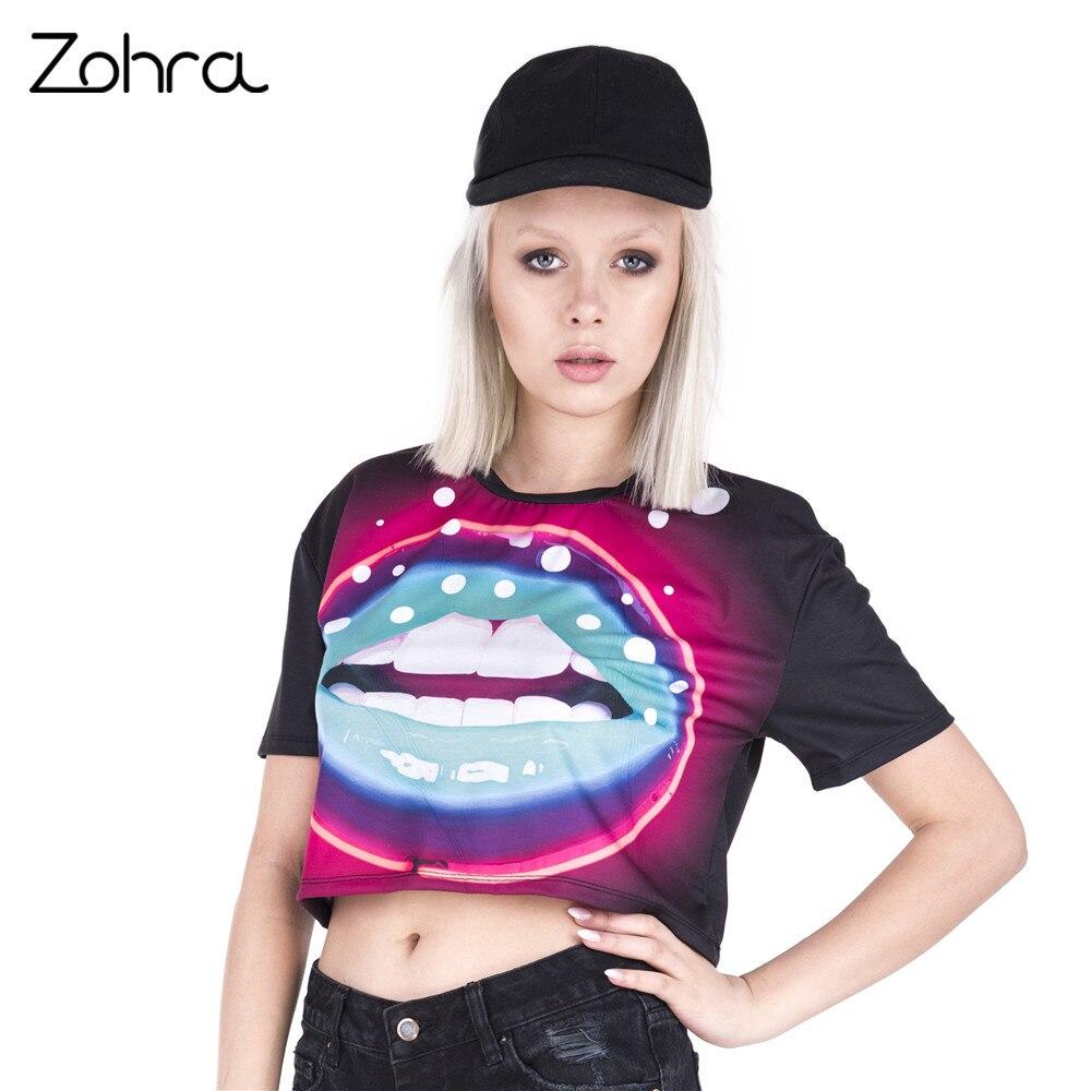 Shirt Stampa Alta Corta Zohra Donne Bacio Q T Tee Manica Neon 9DW2IYEH