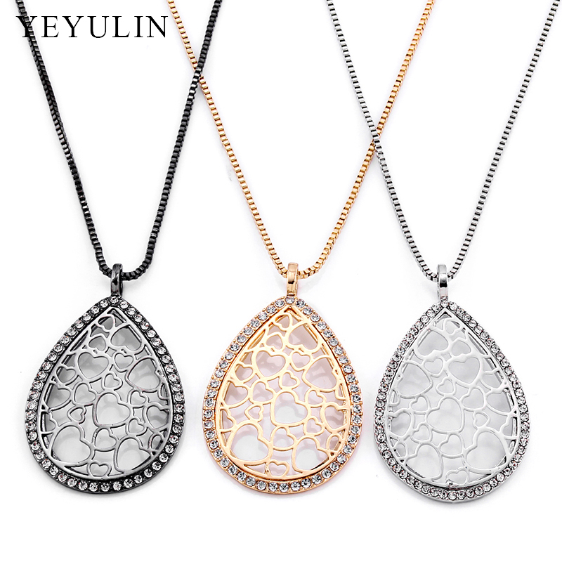 New Design Water Drop Shape Pendant Necklace Hollow Heart High Quality Copper Material Sweather Chain Necklace For Female