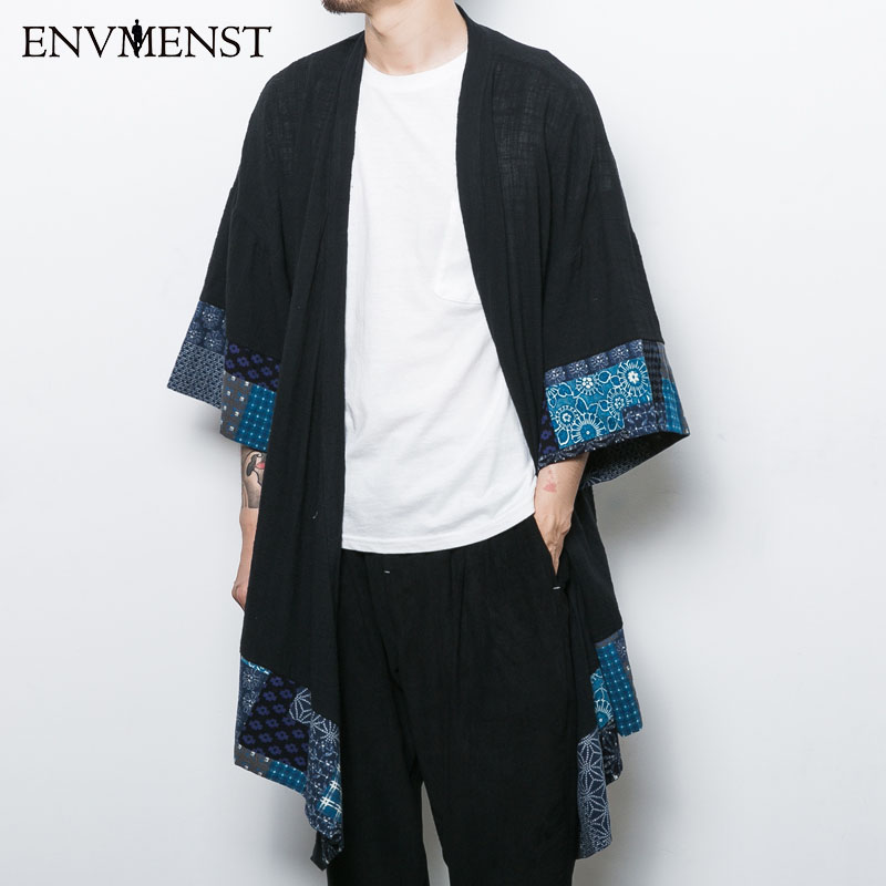 2017 estilo chino de los hombres de la chaqueta tres cuartos de lino ...