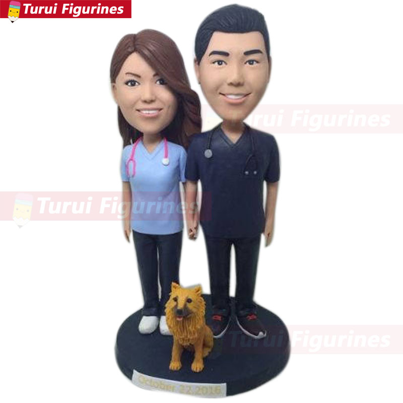 Wedding Cake Topper with dog Custom Personalized Bobble Head Clay Figurine Based on Customers' Photo nurse doctor figurines doll