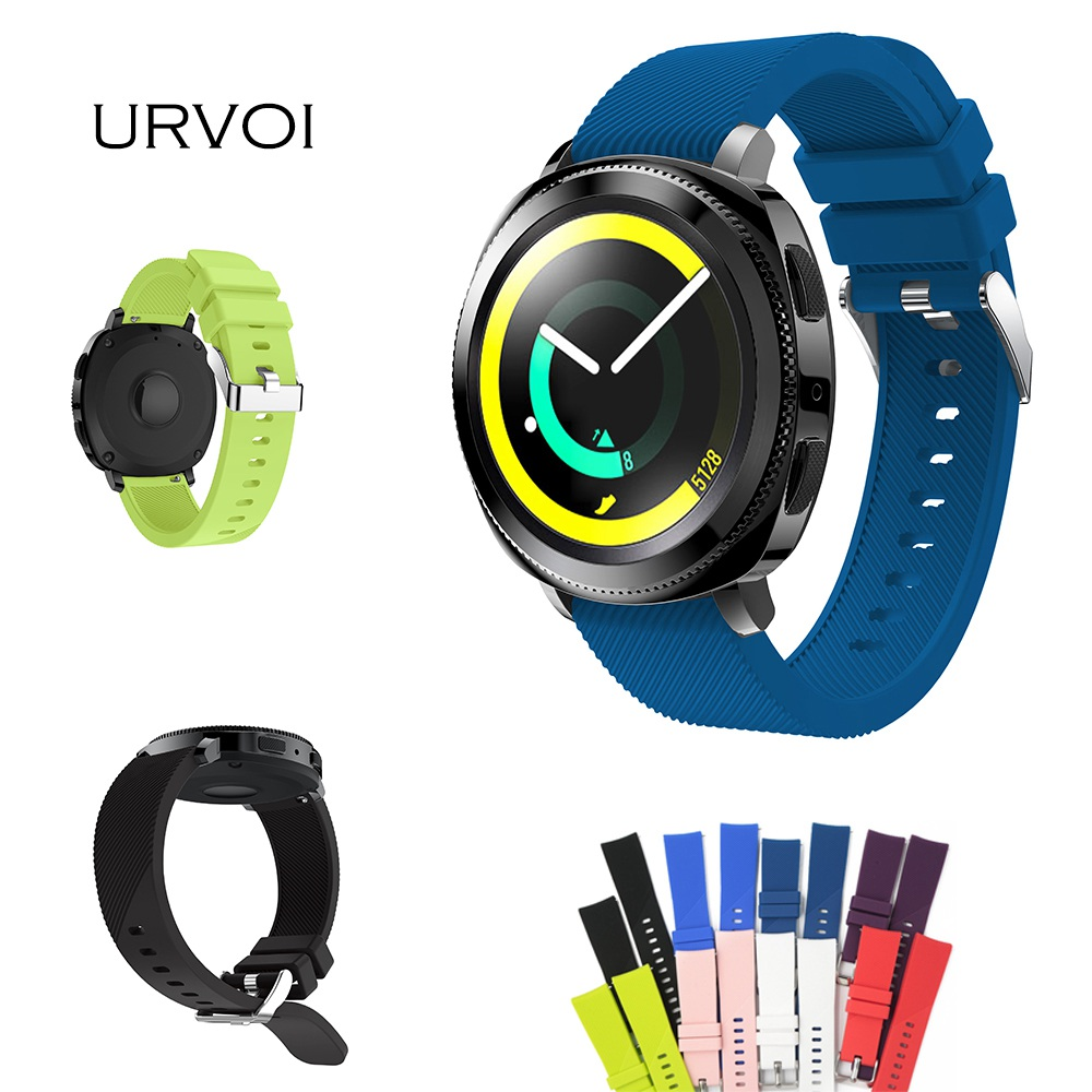 URVOI strap for Samsung Gear Sport S2 classic high quality silicone sport band with quick release pins replacement 20mm 8 colors цена