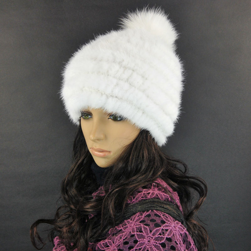 HM034 free shipping fashion winter hat knitted real mink fur many colors warm cap hot style white wholesales the lowest price free shipping fashion hot women winter hat knitted hat winter hat knitted women s