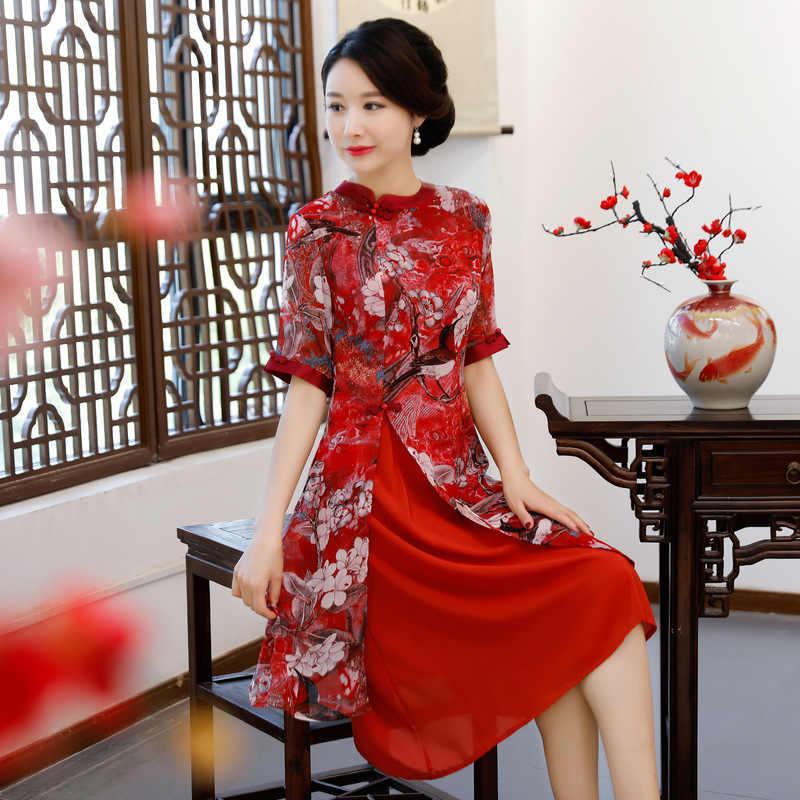 Новое вискозное традиционное китайское женское простое платье винтажное женское цветочное вьетнамское Aodai Qipao летнее сексуальное короткое платье Cheongsam