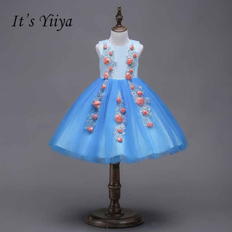 It's yiiya Blue Zipper   Flower     Girl     Dress   Pattern Kid Child Cloth Bow Princess Ball Gown   Dress   For Party Wedding   Girl     Dress   S246