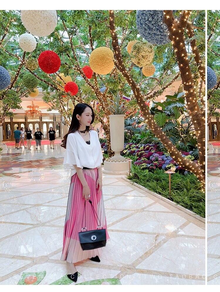 Taille Stock Grandes Patchwork Rose Plissée Livraison Gratuite Pliage Jupe Jupes En Mode De 54jL3qcASR