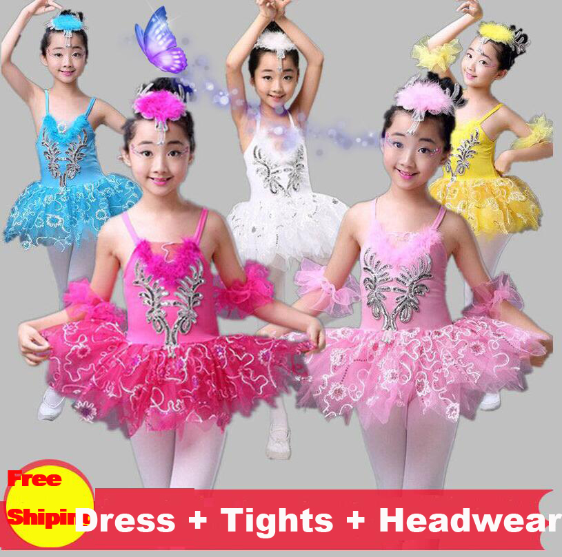 3-16Y Children Swan Lake Tutu Ballet Dance Costume White/Blue/Pink/Yellow Girls Stage Ballet Dress Ballerina Dance Dress Kids