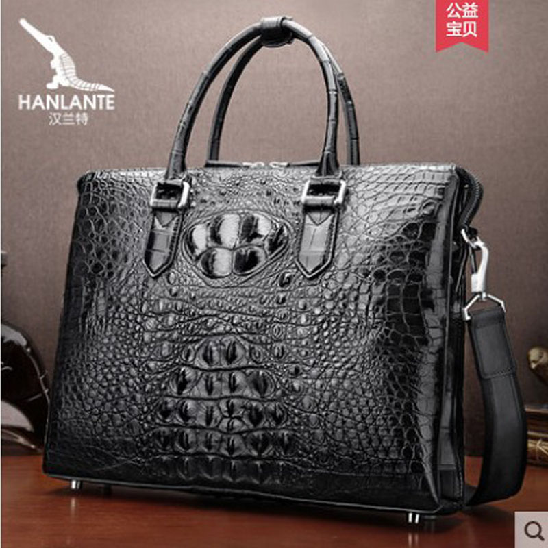 Hanlante Luxury Crocodile Handbag Men's Single Shoulder Bag Leather Business Men's Bag Horizontal Luxury Leather Men Handbag