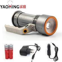 High power led flashlight led 10W zoom torch lamp light waterproof searchlight camping linternas+18650 battery+charger