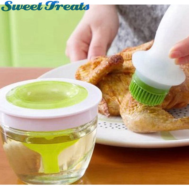 Sweettreats Pastry Basting Brush & Oil Bottle Set, Silicone Round Brush for Grill BBQ Barbecue