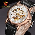 2016 NEWEST OUYAWEI Military mechanical watch Top Brand Luxurygold watch men  leather skeleton reloj hombre