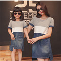 2016 summer style matching mother daughter dresses family look baby girls clothes patchwork dresses jeans pocket short sleeve