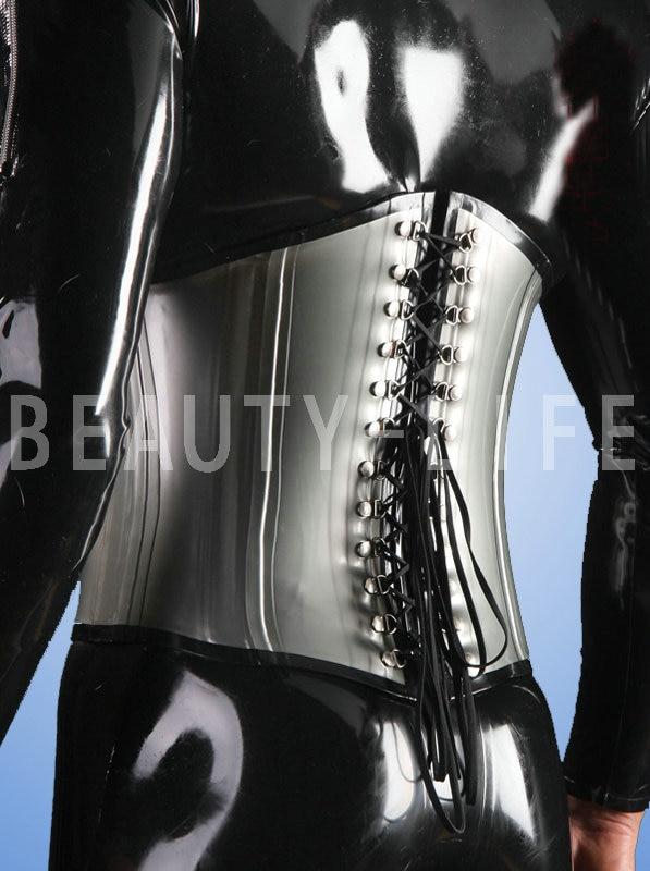 New Latex sexy costumes tight waist bondage corset 1 0mm thickness with bone sharp