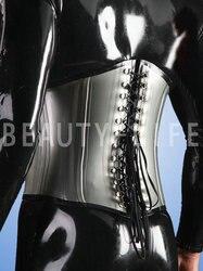 Neue Latex sexy kostüme enge taille bondage korsett 1,0mm dicke mit knochen sharp