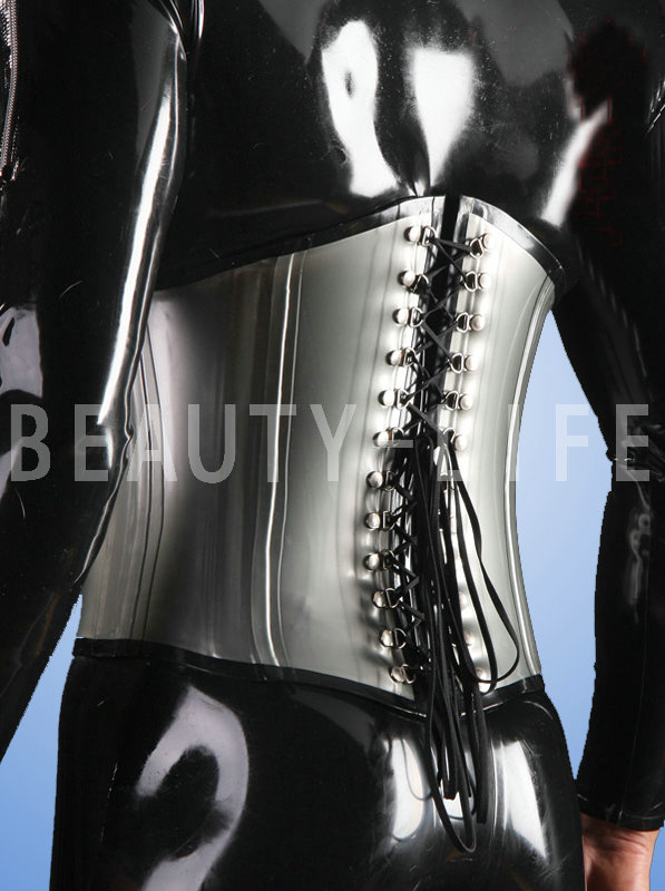 New  Latex  Sexy Costumes  Tight Waist Bondage Corset 1.0mm Thickness With Bone Sharp