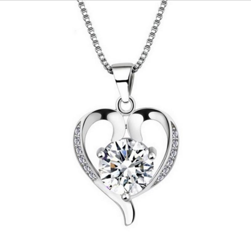 TJP Classic Princess Heart Crystal Pendants Necklace Jewelry Charm Girl 925 Silver Choker Women Party Accessories Bijou