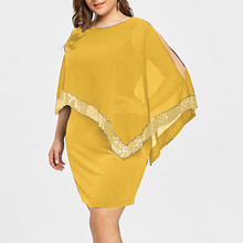 summer dress women  Plus Size 5 xl Cold Shoulder Overlay Asymmetric Chiffon Strapless Sequins mini party Dresses
