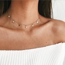 Ожерелье с подвеской в виде звезды золотого цвета в стиле бохо для девочек, женские ожерелья на цепочке, колье для женщин