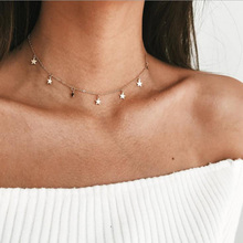 Gold Color Star Pendant Necklace Choker Chain Necklaces for Women Kolye Bijoux Collares Mujer Collier Femme Necklace Jewelry 2019 new boho women chocker gold silver chain star choker necklace collana kolye bijoux collares mujer gargantilha collier femme
