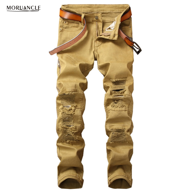 MORUANCLE New Mens Ripped Biker Jeans Pants With Holes Stretchy Distressed Motorcycle Denim Trousers With Side Zipper Khaki 2017 biker jeans mens high stretched zipper distressed jeans new fashion pantalones vaqueros hombre bmy1903