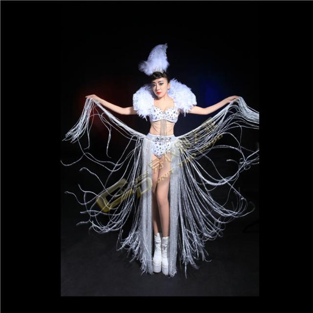 Cantora dj pena branca borla traje do estágio roupas definir mulheres vestido de festa de desempenho outfit dança