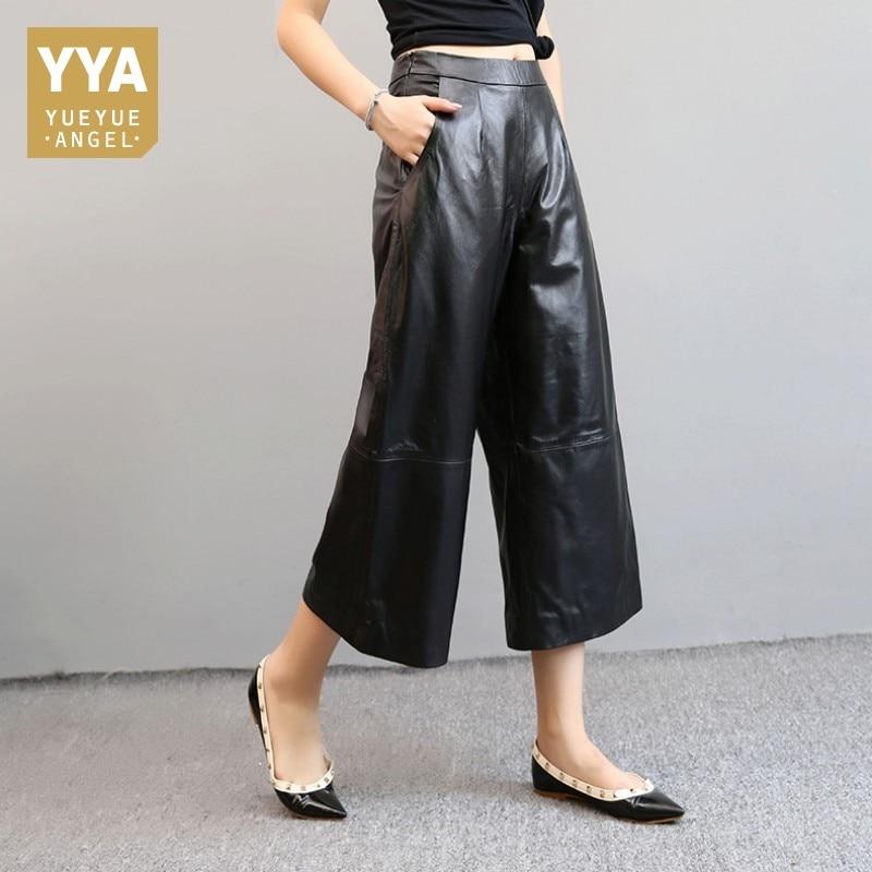 Free Shipping Black Genuine Sheep Leather Pants 100 Lambskin Wide Leg Pants Leather Trousers Pantalon Femme