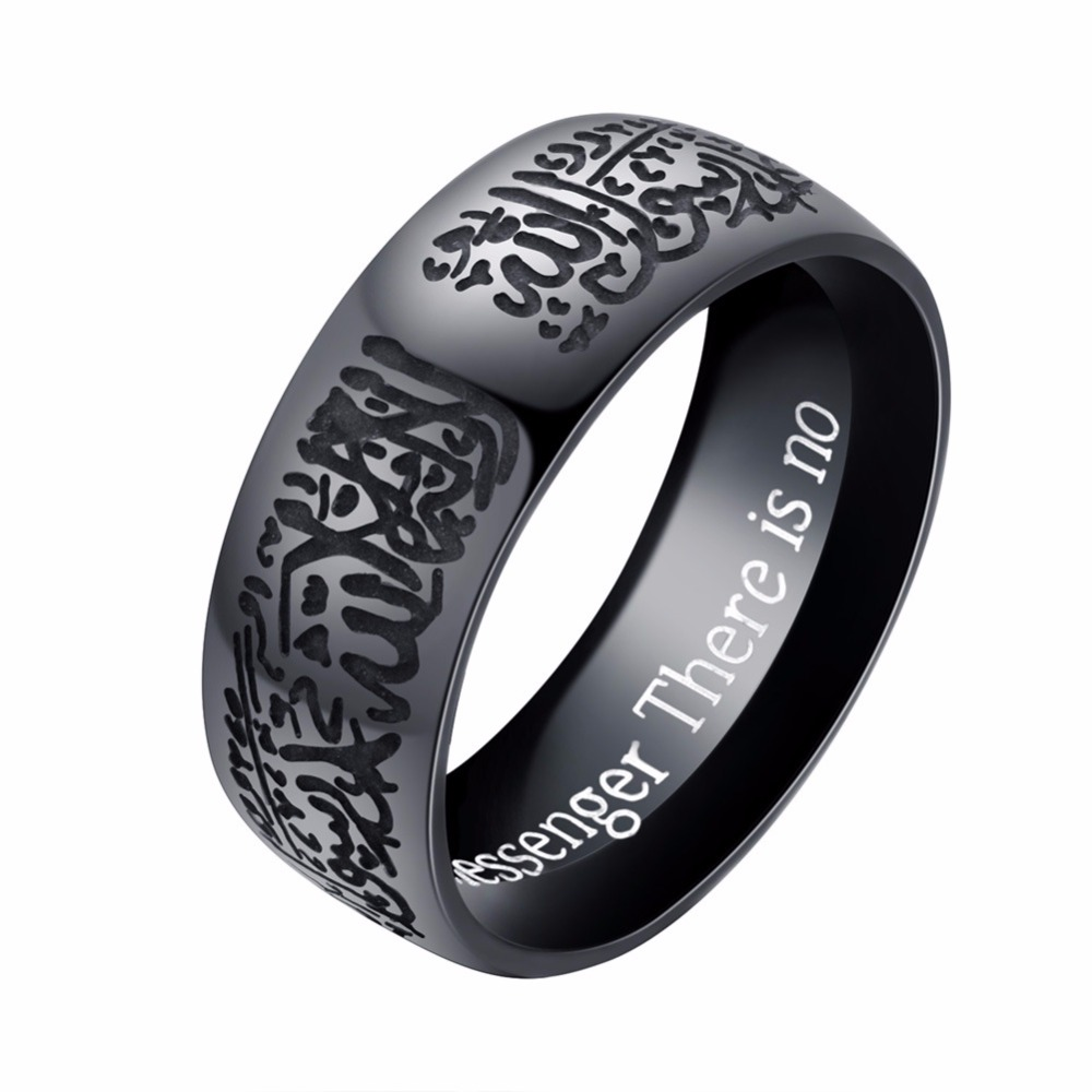 Muslim God and Mohammed Islamic Doctrine Rings Men 8mm Gold-Color Stainless Steel Jewelry Anillos