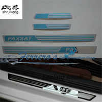 4pcs/lot stainless steel car stickers styling door sill Scuff Plate pedal For Volkswagen VW Passat B5 B7