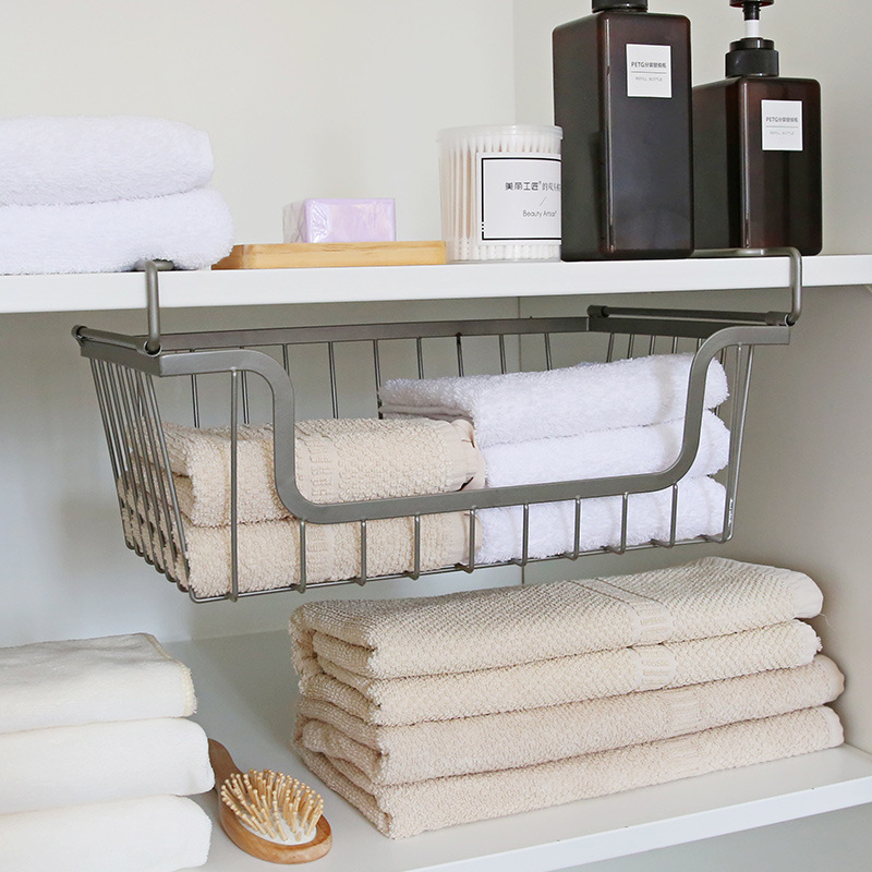 Gray Iron Kitchen Organizer Kitchen Towel dish Rack Soap Sponge Holder for cabinet Accessories Bathroom Table Hanging Organizer