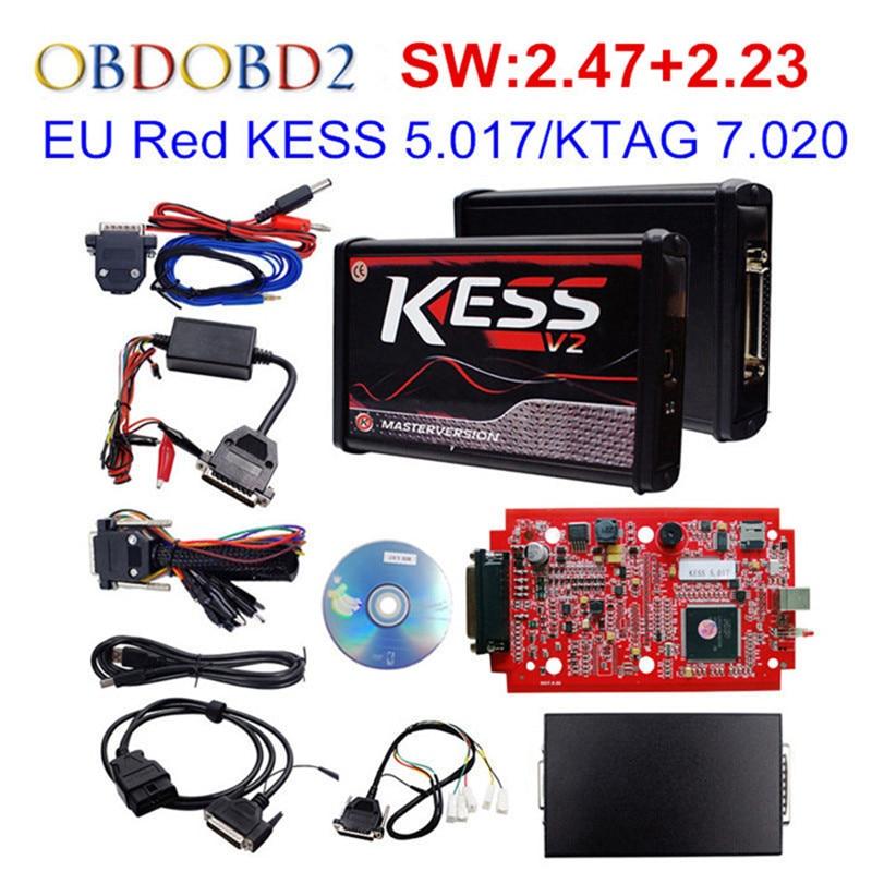 Mais novo KESS V5.017 V2.47 UE PCB Vermelho OBD2 Gerente Sintonia Kit Sem Token Limitada HW V4.036 KESS V2 5.017 Para caminhão do carro DHL Livre