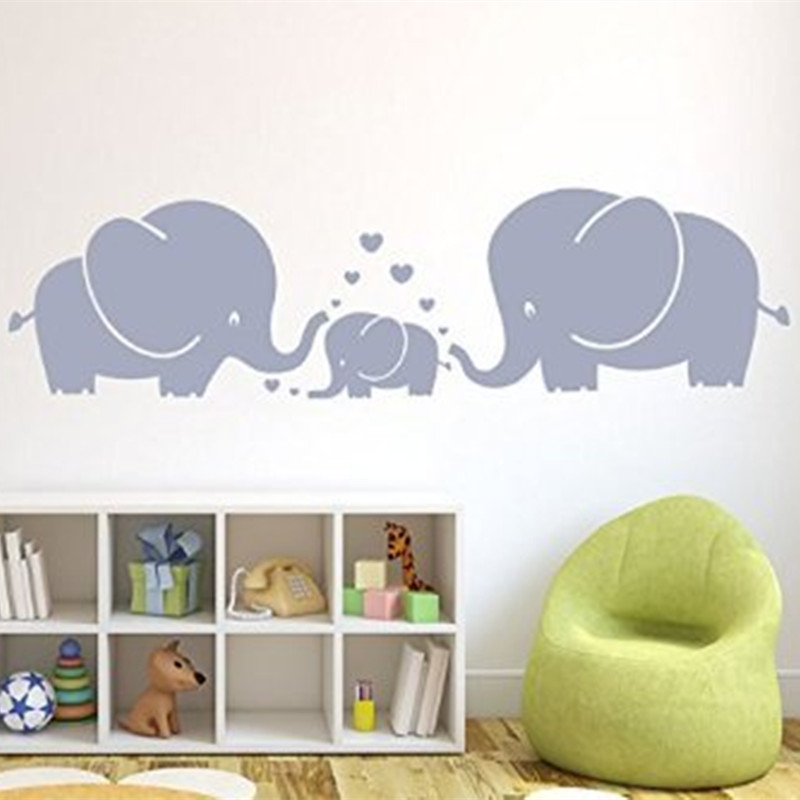 Elephants Parents And Kid Family With Heart Wall Decals Baby Nursery