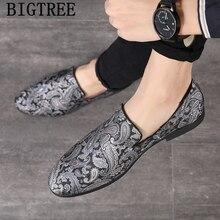 Mocasines para Hombre, zapatos bordados de marcas italianas, zapatos elegantes para Hombre, zapatos clásicos formales, zapatos de vestir para Hombre Ayakkabi