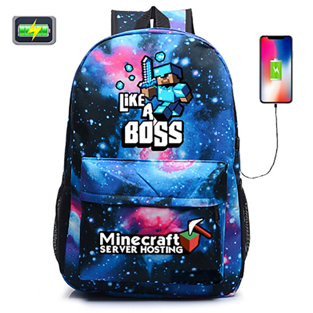 New Arrival Minecraft Backpack Usb For S Student Bookbags Back To School Travel Gift Bag Men
