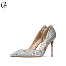Купить с кэшбэком Brand Womens shoes High heels Sexy pointed teo Thin heel Pumps Sequined Cloth Stilettos Party office 2017 Night-club Custom-made