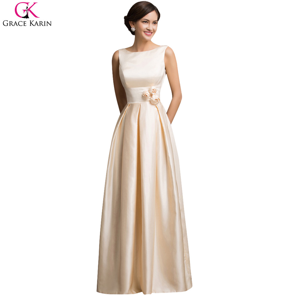Grace Karin Prom Dresses Champagne Satin Elegant Formal Gowns Open Back Vestidos Graduacion Long