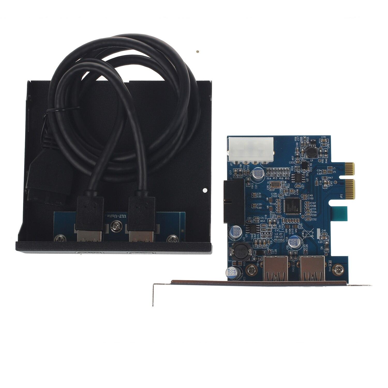 PCI Express PCI-E Carte 2 Port Hub Adaptateur + USB 3.0 Panneau Avant 5 Gbps Salut-Vitesse