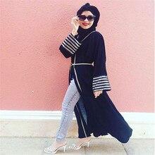 Muslim Fashion 2017 Polyester Long Sleeve Cardigan Kaftan Dress Navy Robe Casual Plus Size Robe Islamic Abaya Long Dresses